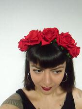 Cerchietto per capelli corona fiori rose rosse calavera catrina acconciature
