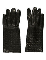 100% authentic BOTTEGA VENETA intrecciato woven nappa leather gloved black 70 7