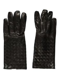 100% authentic BOTTEGA VENETA intrecciato woven nappa leather gloved black 70 7
