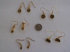 HARLEY DAVIDSON EARRINGS DANDLE GOLD TONED SET OF 5 OFFICAL HD PRODUCT 20 A-D-6