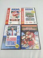 Lot of 4 Sega Genesis Games - NFL 95 Madden 93 College Football High Impact