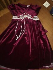 Girls Rare Editions Sz 5 Dark Red Velvet Rose Lace Dress Holiday Christmas