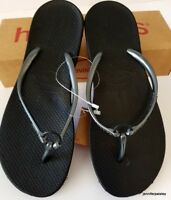HAVAIANAS Genuine NEW Ladies Slim THONGS FLIP FLOPS RING BLACK GRAPHITE Logo