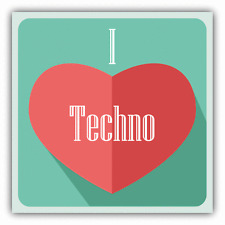 "I Love Techno Heart Music Car Bumper Sticker Decal 5"" x 5"""