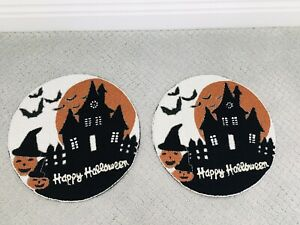 """Halloween HAUNTED HOUSE BAT NICOLE MILLER Beaded 15"""" Round Placemat Charger"""