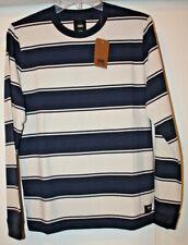Vans Boys Chamberlain Long Sleeve Striped Sweatshirt, Dress Blue