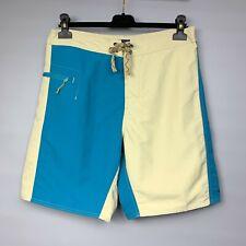 PATAGONIA Men's Board Shorts Size 32 Wavefarer Swim Trunks Blue Beige Colors