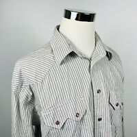 Resistol Mens 2XL Rodeo Wear Pearl Snap Shirt Gray White Striped Cotton Western