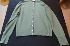 100% Cashmere Front Button Moss Green Cardigan Sweater - Medium - 1950's