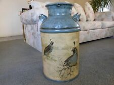 Decorative Metal Milk Can with F. Massa Quail Birds Design
