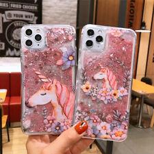 For iPhone 11  Max X XR 6 7 8 SE 2020 Cartoon Unicorn Quicksand Phone Case Cover
