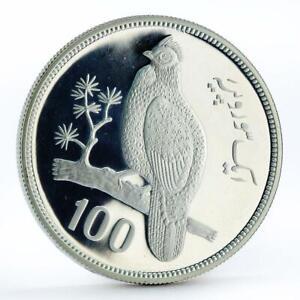 Pakistan 100 rupees WWF Tropogan Pheasant Bird Fauna silver coin 1976