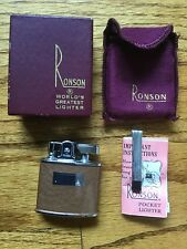 Vintage Ronson Standard Pocket Lighter With Box Instr. Tool Pouch NIB