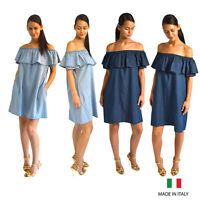 44d441b3cbe8 Womens Ladies Denim Look Off The Shoulder Aline Mini Dress With Side Pockets