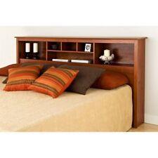 King Size Headboard Wood Bed Frame Shelves Cherry Bedroom Furniture Bedding Beds