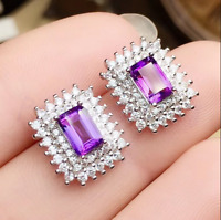 4.50Ct Emerald Cut Amethyst Push Back Halo Stud Earrings 18K White Gold Finish