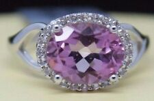 Sterling Silver Oval Pink Topaz with White Topaz Accent Ring Size 7