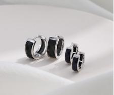 Wide Band Black Onyx Bar Huggie Hoop .925 Sterling Silver Earrings Gift Box PE48