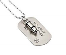 SILVER Bullet Dog Tag Pendant Necklace Military RAMBO ID Tag Ball Chain UK