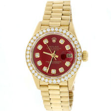 Rolex President Datejust Ladies 18K Yellow Gold 26MM w/Red Diamond Dial & Bezel