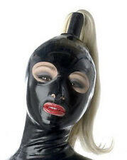 Sexy Latex Hood with Hairpiece Rubber Mask  in Back Zipper Club Wear Cosplay