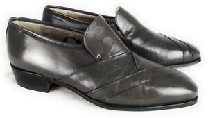 Stacy Adams Gray Leather Fold Pattern Slip On Dress Shoes Spain Men's 9.5