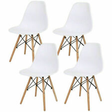 Set of 4 Inspired Dining Plastic Chairs Modern white