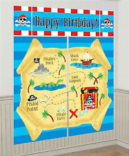 PIRATE TREASURE MAP Scene Setter HAPPY BIRTHDAY party wall decoration kit 6'