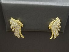 14K Yellow Gold Finish Round Clear Cz Stones Angel Wing Post Back Stud Earrings