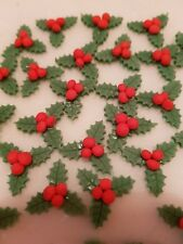 x25 holly and berries christmas cake toppers edible cupcake decorations