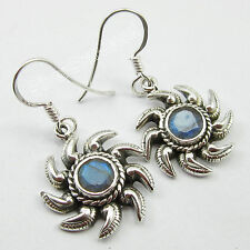 "Oxidized Earrings 1.3"" Combined Shipping 925 Pure Silver Beautiful Labradorite"
