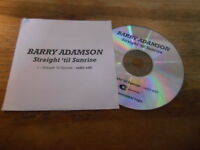 CD Pop Barry Adamson - Straight Til Sunrise (1 Song) Promo CENTRAL CONTROL