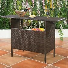 Outdoor Rattan Wicker Bar Counter Table Shelves Garden Patio Furniture Brown