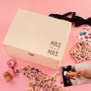 """Mrs and Mrs"" Lesbian Wedding Keepsake Memory Box -  Anniversary Gift For Wife"