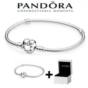 All new Pandora S925 Silver Instant Heart Snake Chain Charm Bracelet + Box
