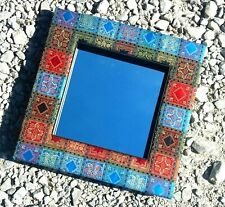 Square blue/red reclaimed indian fabric wall mirror