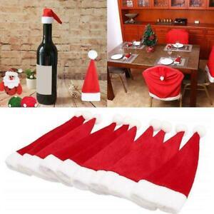 10 Mini Santa Hats Christmas Cutlery Holders Table Decorations Tableware P1G1