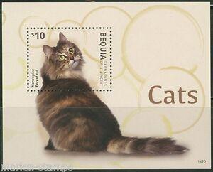 BEQUIA 2014 CATS   SOUVENIR SHEET MINT NH