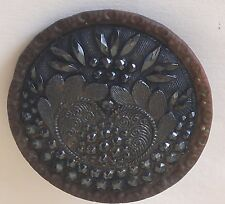 """Antique Vintage Victorian Cut Glass Lacy Black Button 1¼"""" Round in Metal Back"""