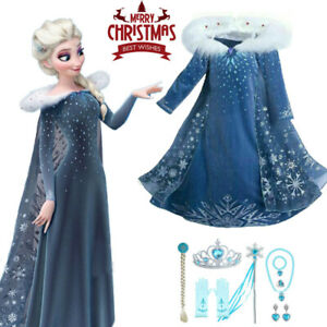 UK Girls 2021 Frozen 2 Princess Elsa Fancy Dress Up Cosplay Costume Party Outfit
