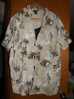 Maggie Barnes beige/black/white Elephants short sleeve button up blouse 2X