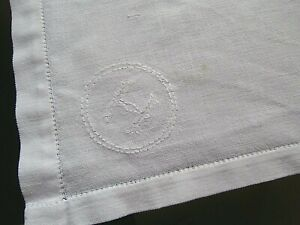 """VINTAGE WHITE IRISH LINEN  TRAY CLOTH with HAND EMBROIDERED """"H"""" ~ 18"""" x 14"""""""