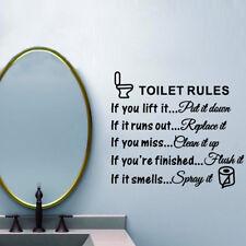 Toilet Rules Bathroom Removable Wall Sticker Vinyl Art Decals DIY Home Decor H5F