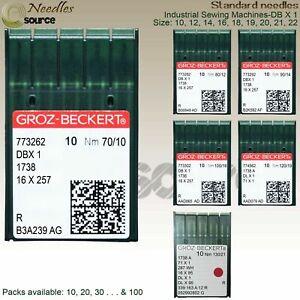 GROZ-BECKERT INDUSTRIAL SEWING MACHINE NEEDLES DB X 1 1738 16x231 ALL SIZES x 10
