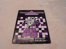 Transformers GENERACIÓN 1, G1 Decepticon partes Snarler Folleto de instrucciones