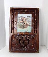Antique Vintage 50s Handmade Ornate Brass Wood Nautical Sailing Ship Wall Clock