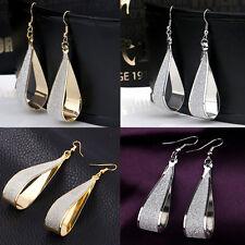Womens Fashion Gold Silver Party Hoop Earrings Crystal Scrub Water Drop Jewelry