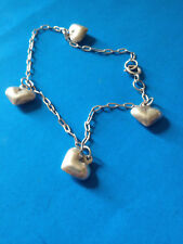 Vintage Bracelet Chaine Charmes Coeurs Argent / Sterling Puffy Hearts Charms