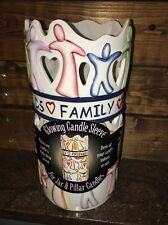 "NIB NOS Waxcessories Friends Heart Family Large Pillar Candle Jar Sleeve 9"" t"