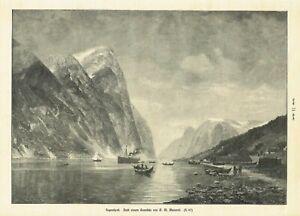Sognefjord Fylke Vestland Norway Large Wood Engraving From 1903